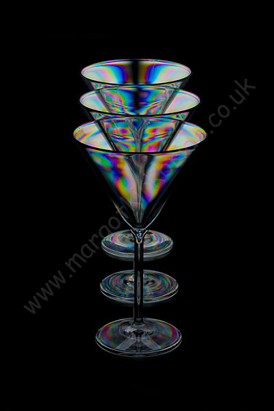 Three stacked cocktail glasses