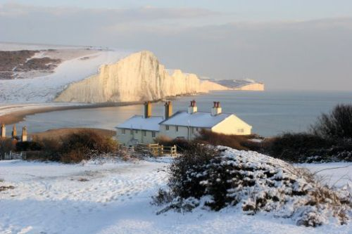 December Snow on the Seven Sisters & Coastguard Cottages