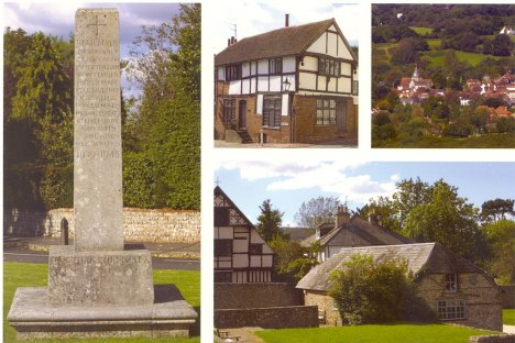 Ditchling: West Sussex: View from Downs, War Memorial & Housing Styles