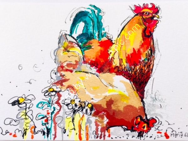 Hens pecking - Sold