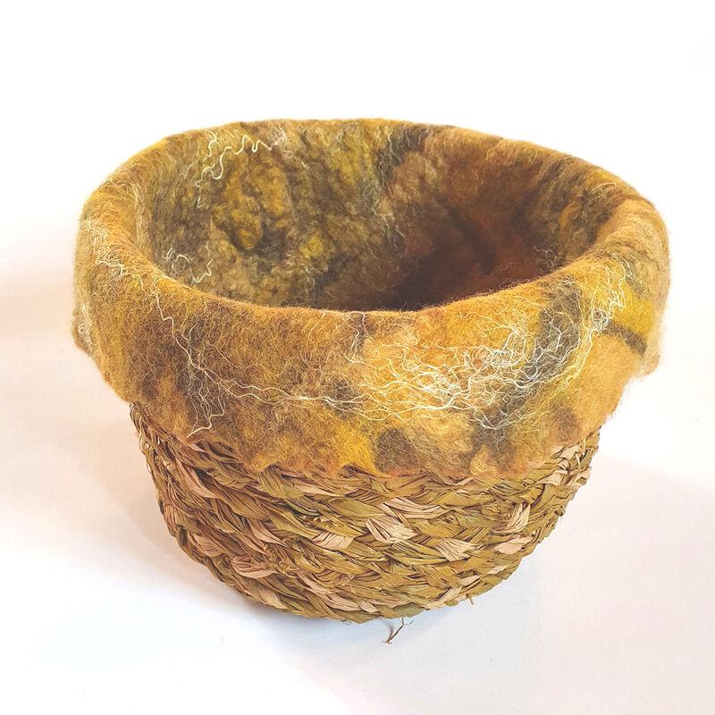 Felt Lined Raffia Basket