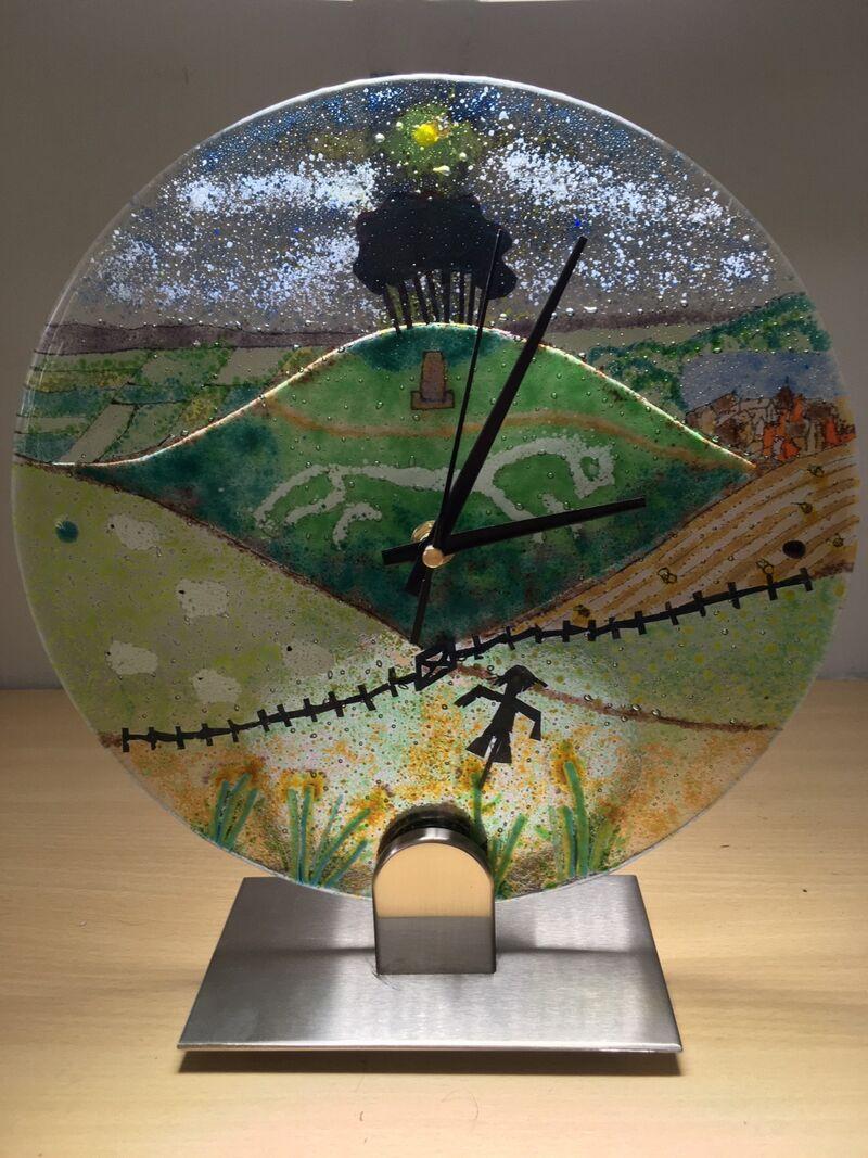 White Horse Fused Glass Clock