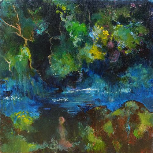 River bank (1). Oil on canvas. 30x30cm