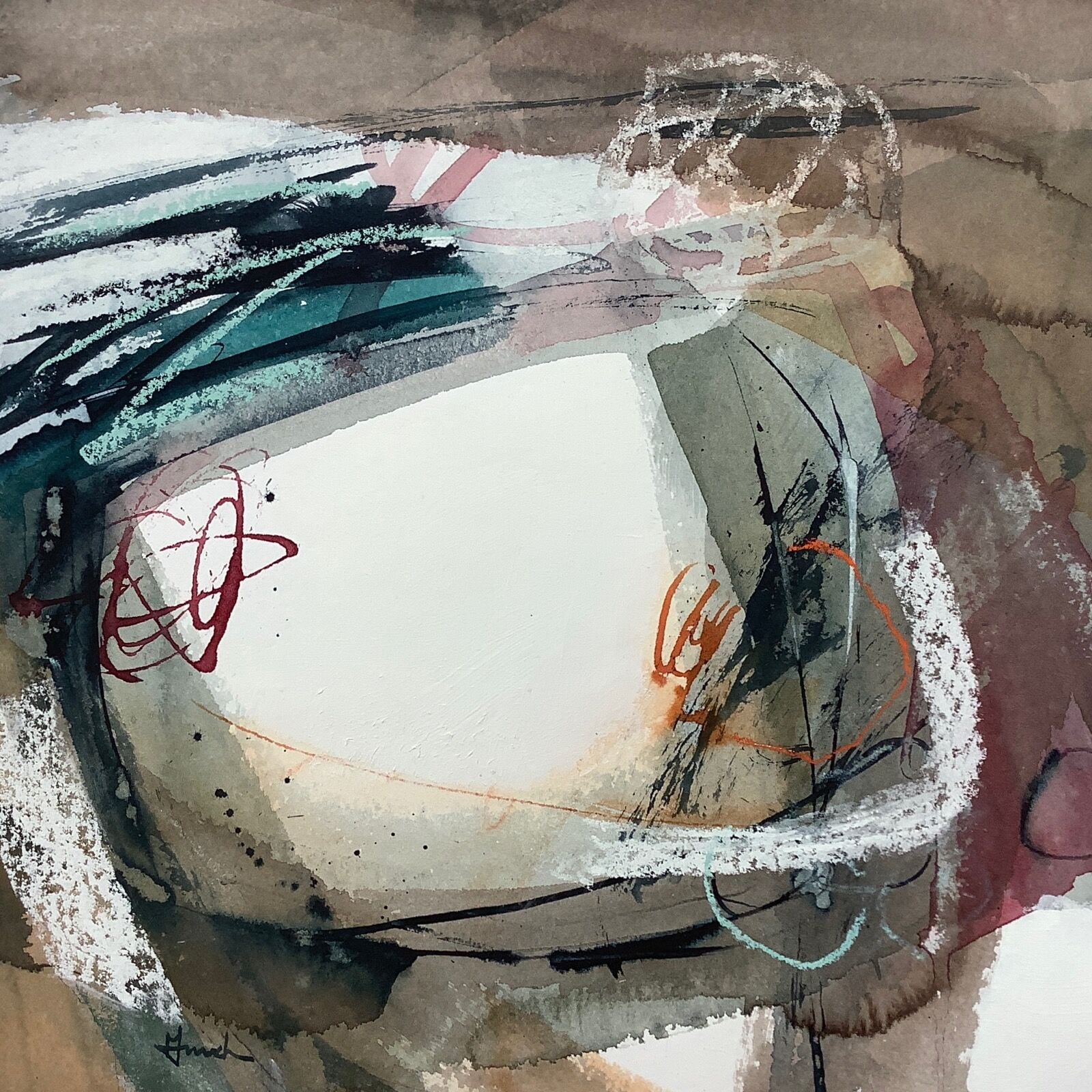 abstract landscape painting on paper