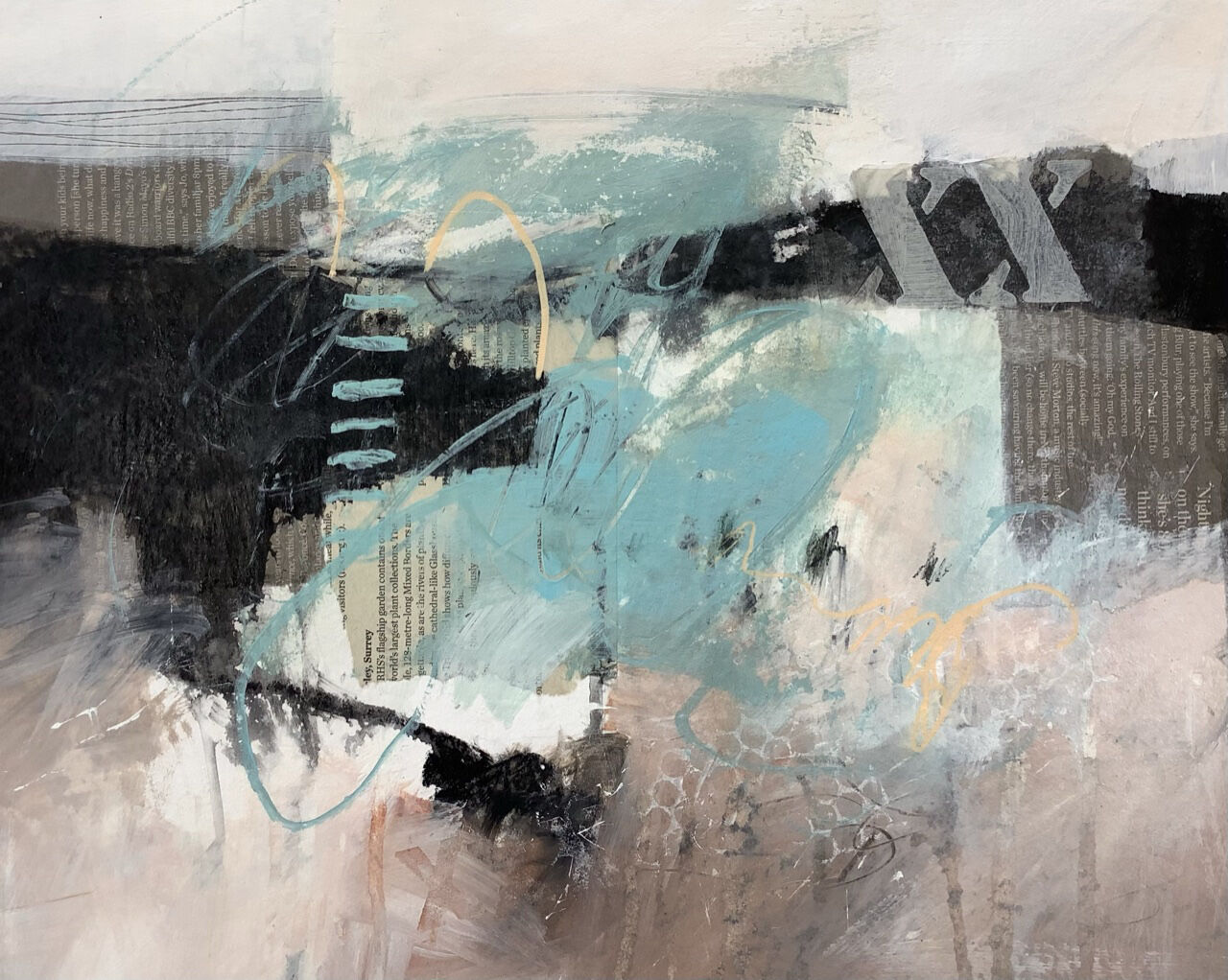 Abstract coastal painting for sale