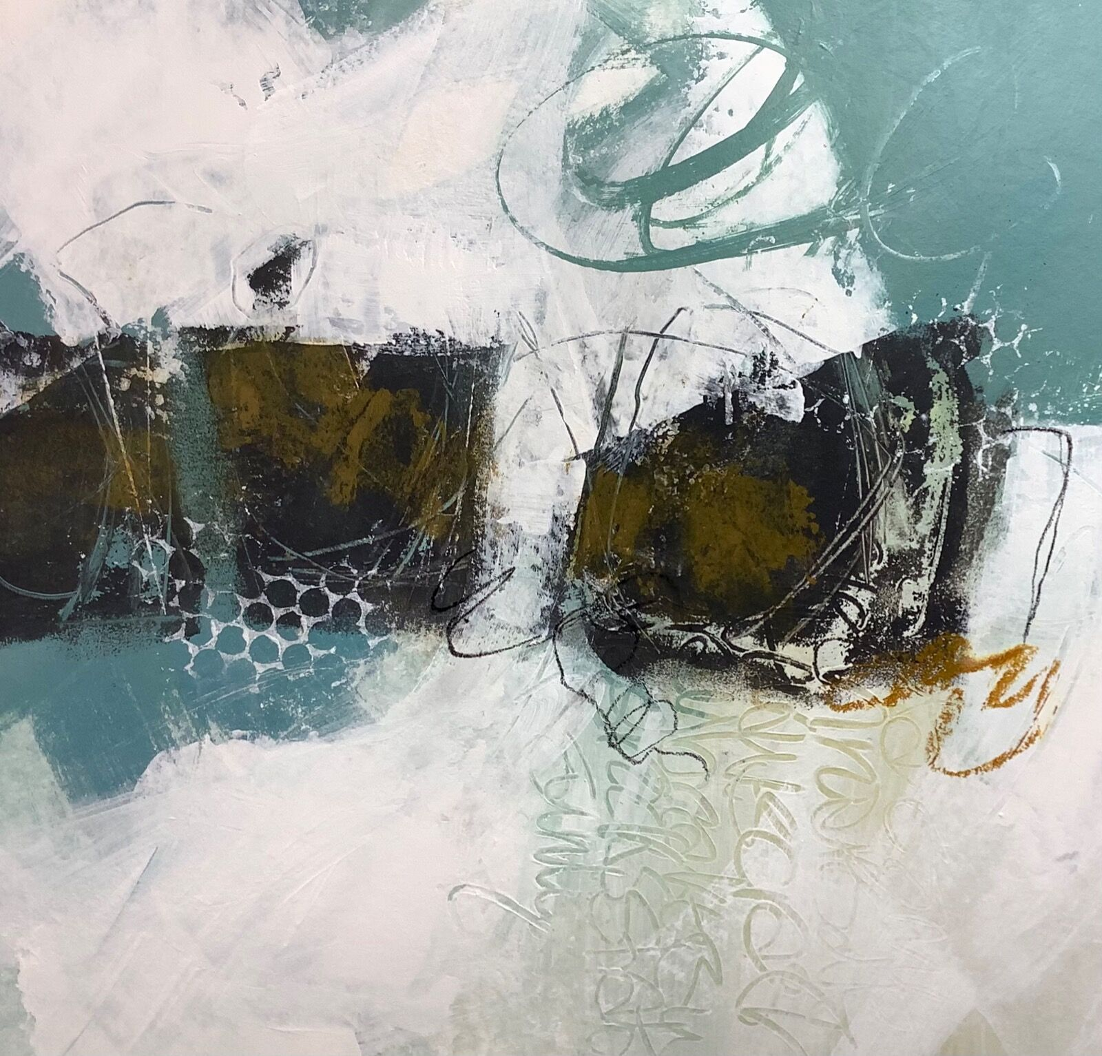 Abstract painting of Cornish coast for sale