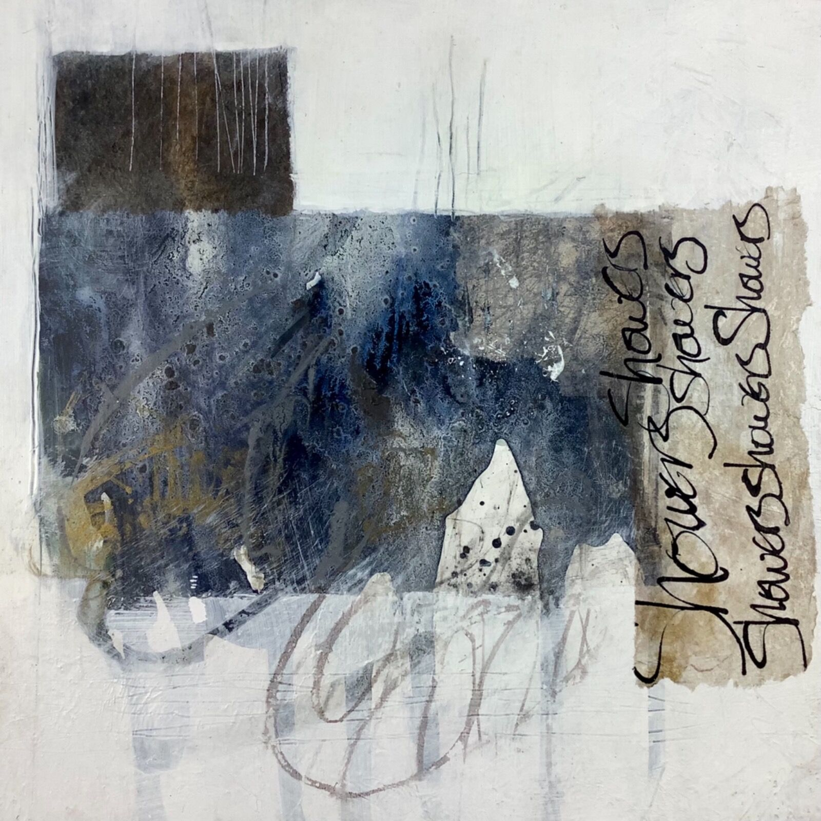 Small abstract painting on wood panel for sale by artist Mari French