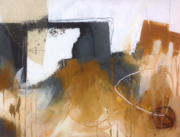 Abstract landscape in collage and mixed media on paper.