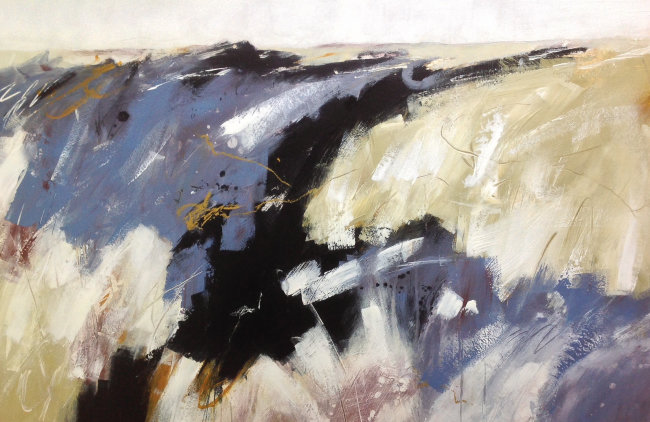 Abstracted landscape in acrylics on paper, inspired by the reedbeds of the North Norfolk coast.