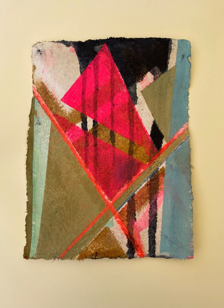 Pink Lines 3- 28x38cm- oil, ink and pastel on thick Khadi paper