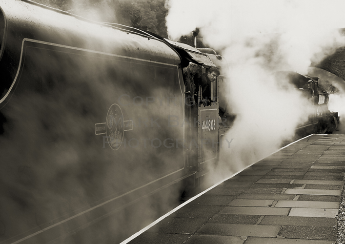 Steamy departure on a damp day.