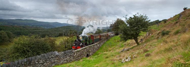 Blanche passing Rhiw Goch Farm, Festiniog Railway.