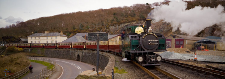 Earl of Meirionydd passing Boston Lodge, Festiniog Railway.