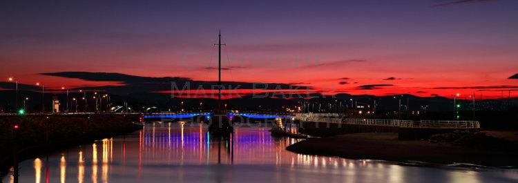 Rhyl's Foryd Harbour and Pont y Ddraig bridge at Sunset.
