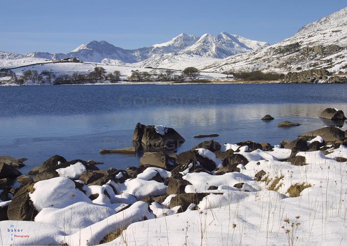 Llynnau Mymbyr & Snowdon horseshoe in winter.