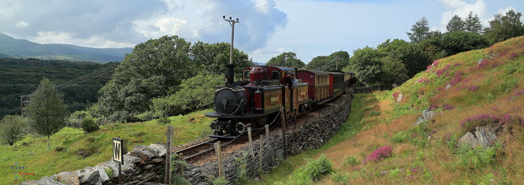 Merddin Emrys passes Rhiw Goch with a morning up train.