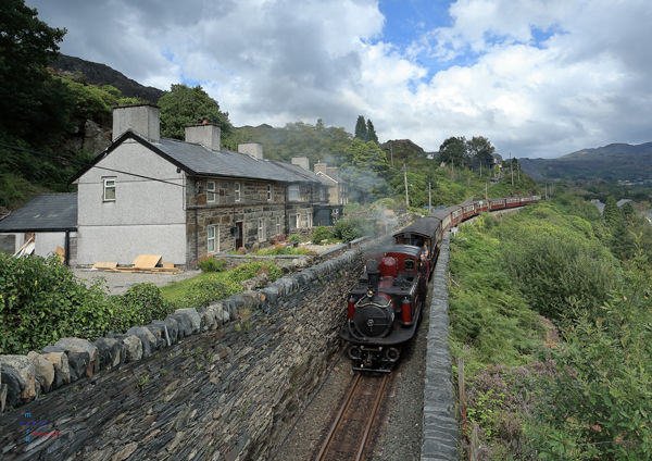Merddin Emrys with afternoon train approaching Tanygrisiau.