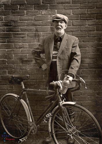 Veteran cyclist portrait.