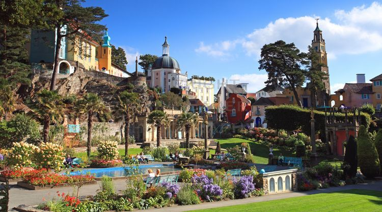 Portmeirion Village panorama.