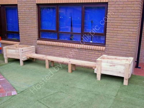 Two more raised beds and seating