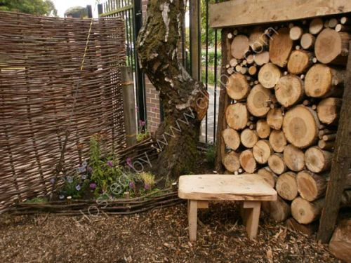 Hazel fencing and seating added