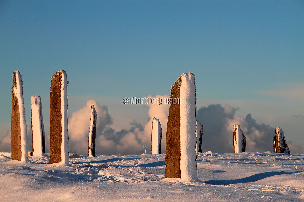 Ring of Brodgar blanketed in deep snow