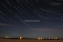 Startrails on a moonlit night