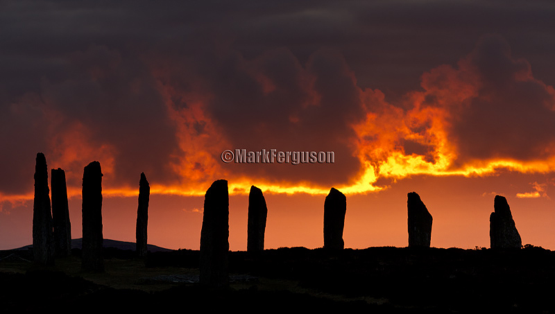 Sunlit clouds at The Ring of Brodgar