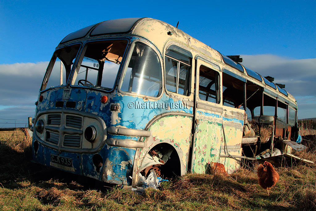 Lyness, old Bedford bus
