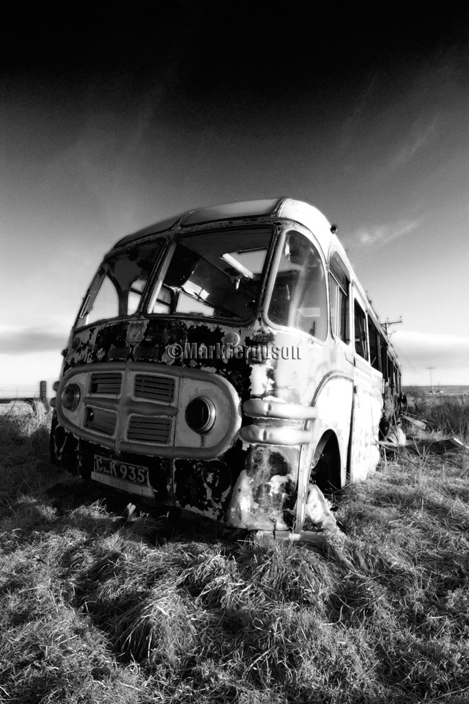 Abandoned Bedford bus in infrared