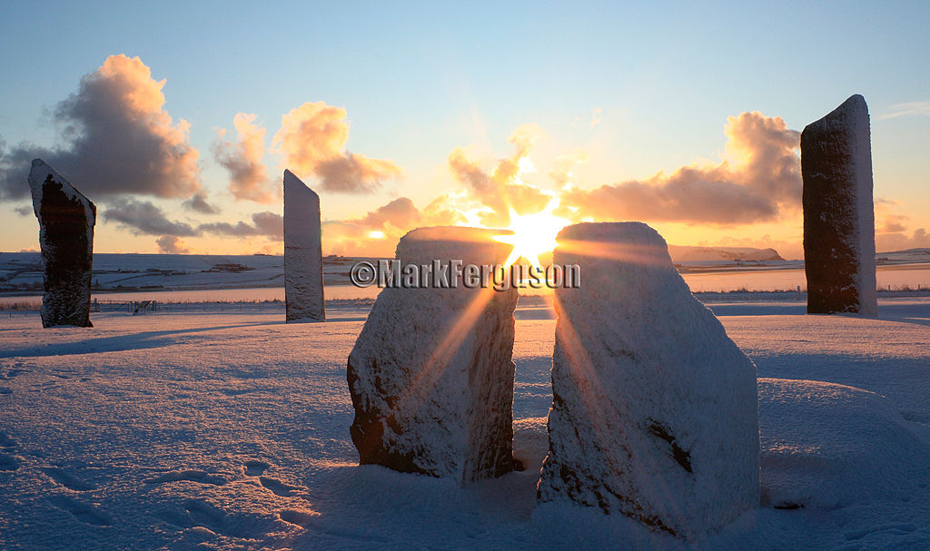 Winter sunset at the Standing Stones of Stenness