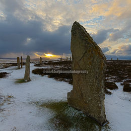 Ring of Brodgar winter sunset