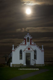 Italian Chapel under a full moon