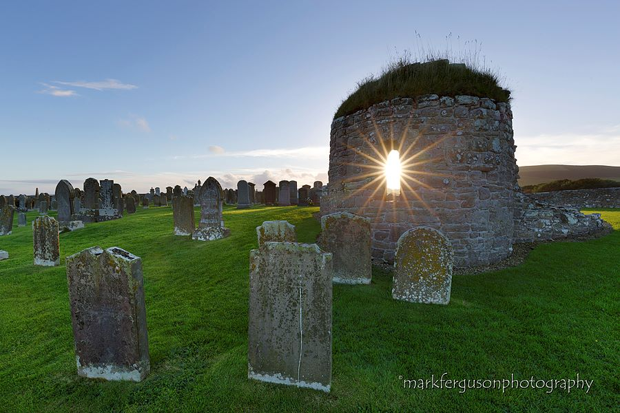 Orphir round church summer sunset