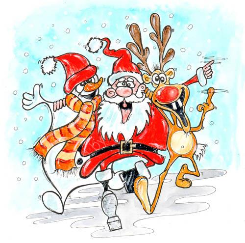 Dancing Santa. Xmas card from 2012.