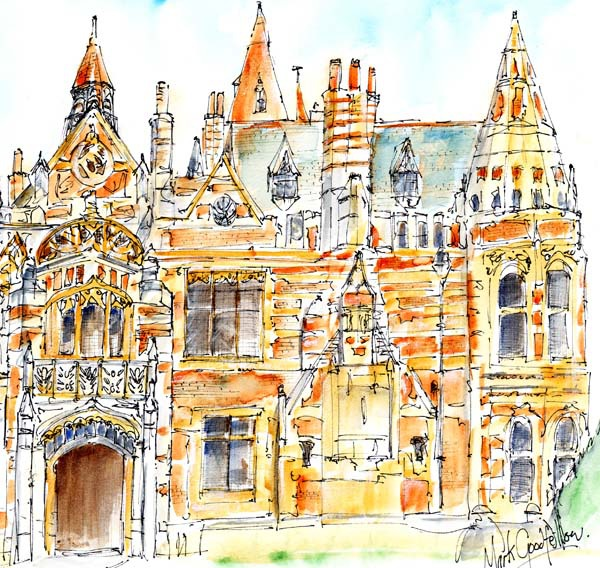 Detail from preliminary sketch for 'Friar Park, Henley-on-Thames'