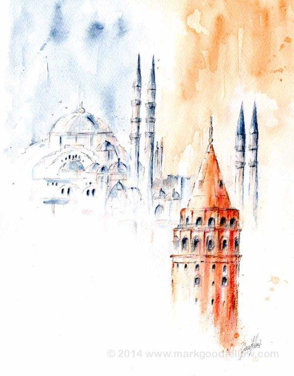 Istanbul Galata Tower and Suleymaniye Mosque.