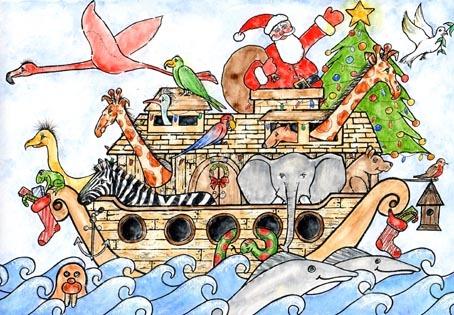 Xmas Noah's Ark. Now available as a Xmas card.