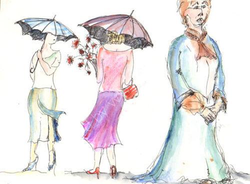 Ladies with Umbrellas, Knightsbridge, London