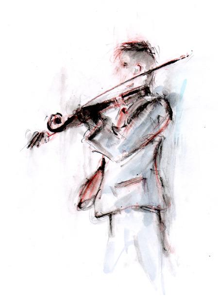 Violinist, Outdoor concert, Austria