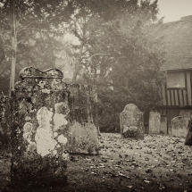 Misty Graveyard With Headstones