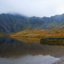 Welsh Mountains With Lake And Wall