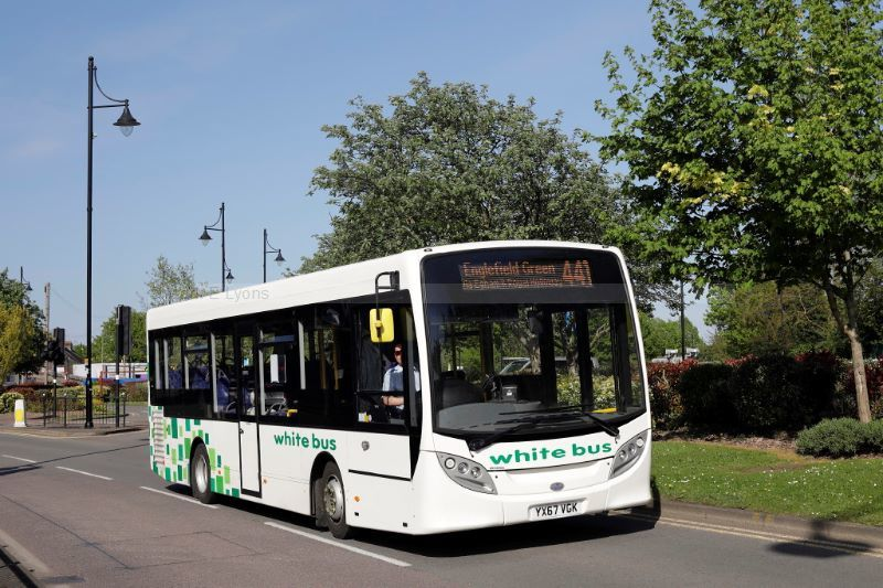 1821041M White Bus YX67AGK South St Staines