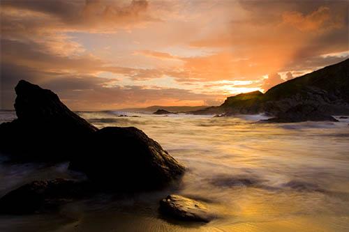 Sunset, Freathy Beach, Whitsand Bay, Cornwall, UK