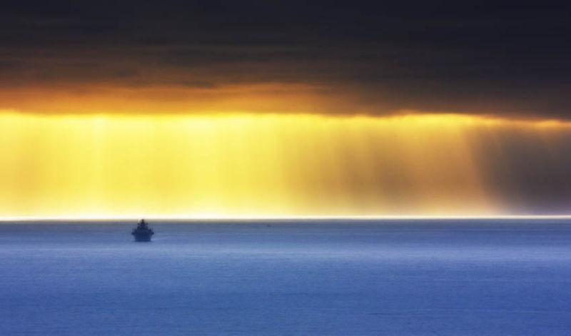 Attack Ship at Sunset.