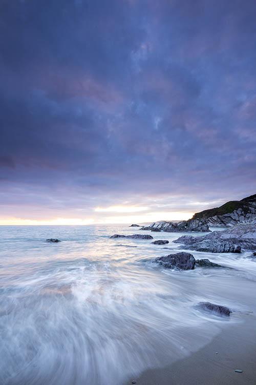 Waves Breaking on Sharrow Beach Whitsand Bay Cornwall UK