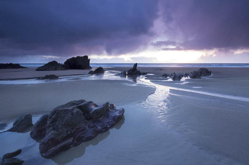 Stormy Skies over Freathy Beach Whitsand Bay Cornwall UK