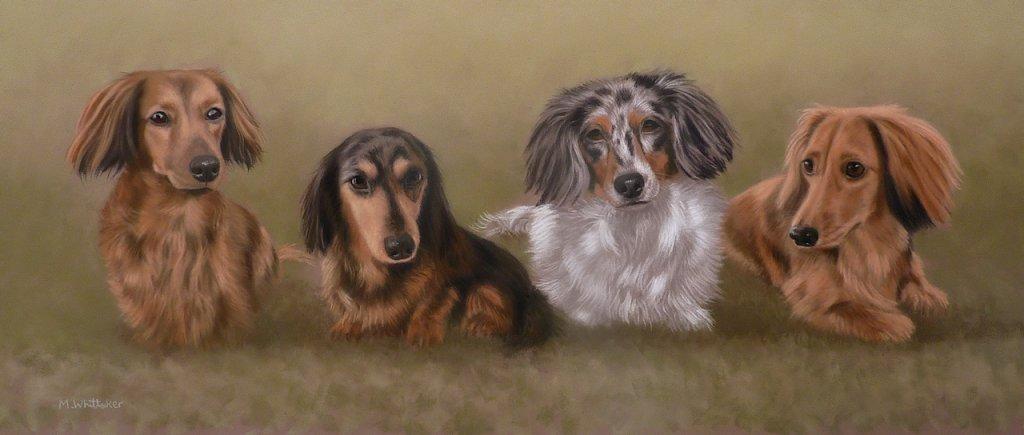 Original Pastel Painting of Oscar, Cami, Farrah and Dolly.