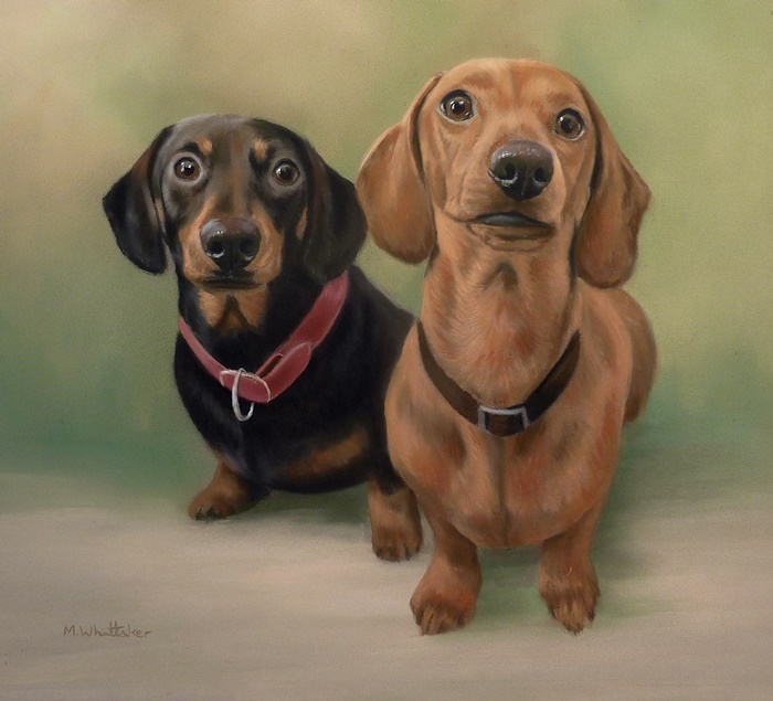 Original Pastel Painting Of Dachshunds.