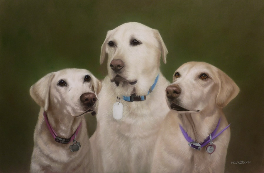 Original Pastel Painting Of Al ,Roxy & Heidi.